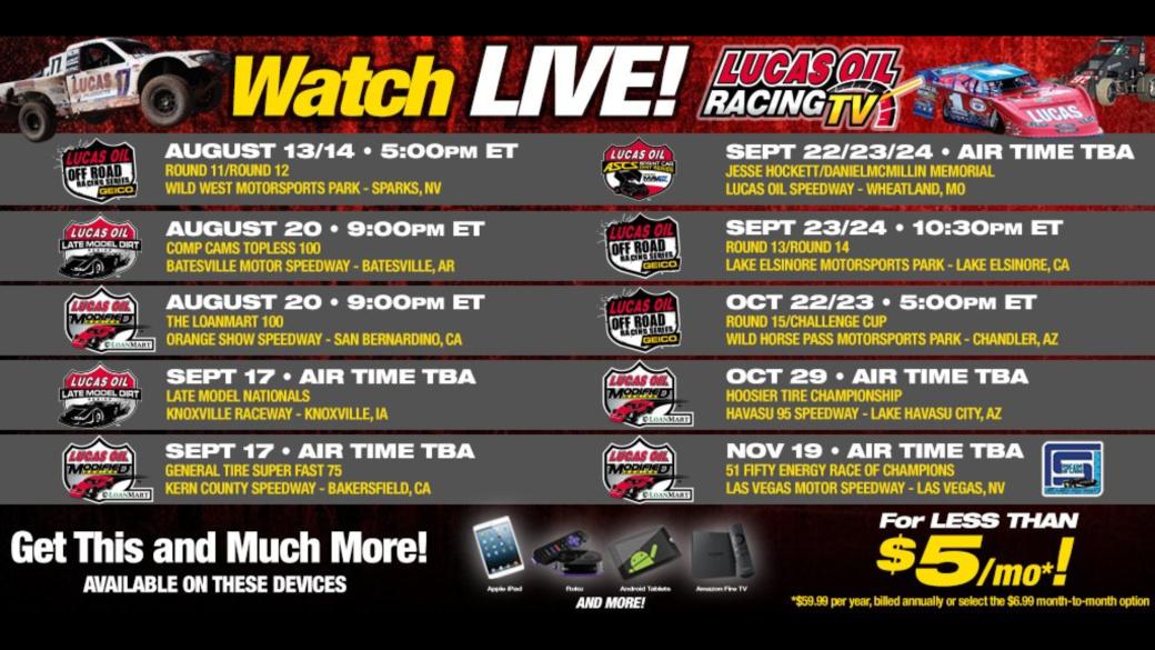 Lucas Oil Racing TV - 2016 Schedule