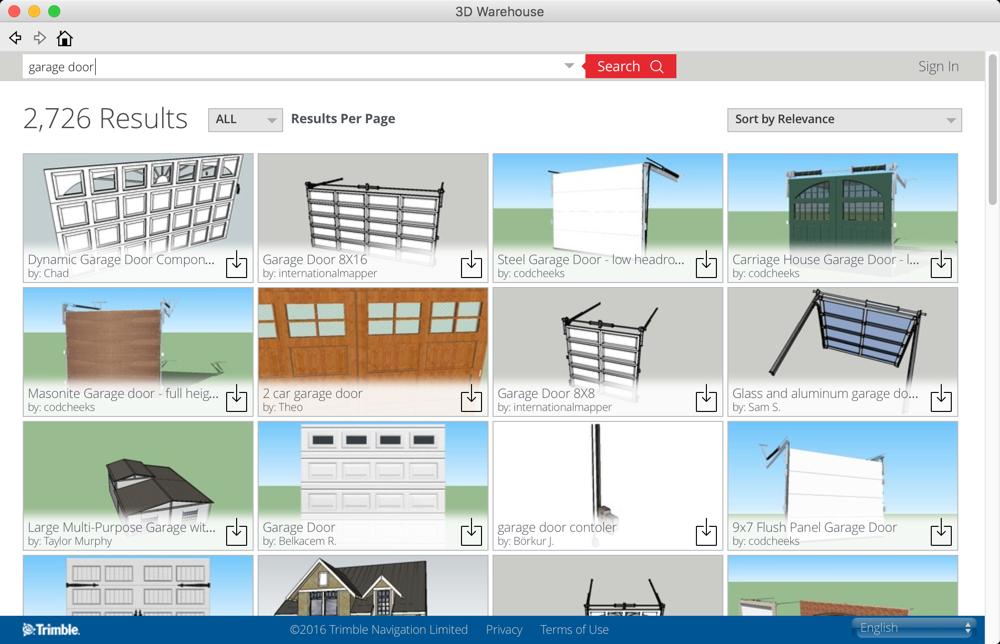 SketchUp 3D Warehouse - Garage Door