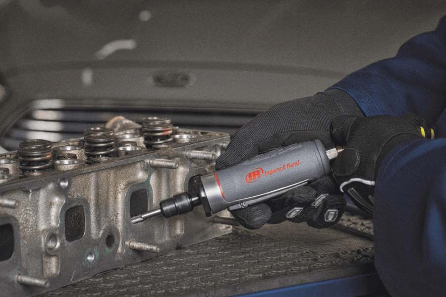 Auto mechanic use Ingersoll Rand die grinder for port and polish