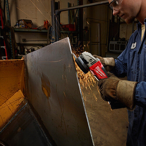Heavy duty mechanic using angle grinder