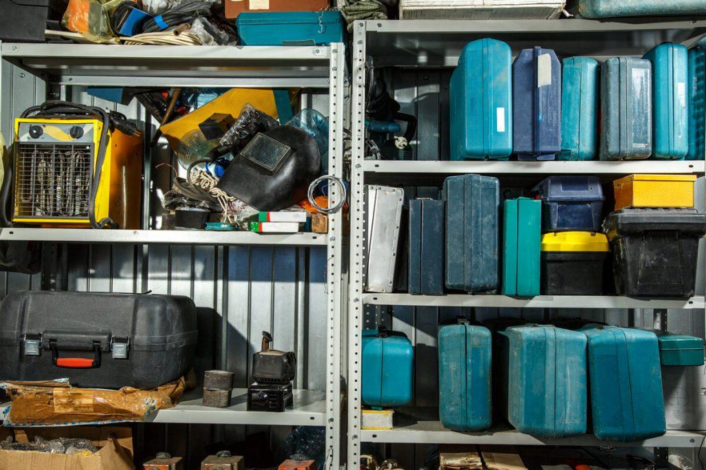 Auto mechanic tools in shelving