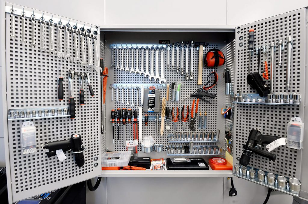 Fully-equipped garage cabinet