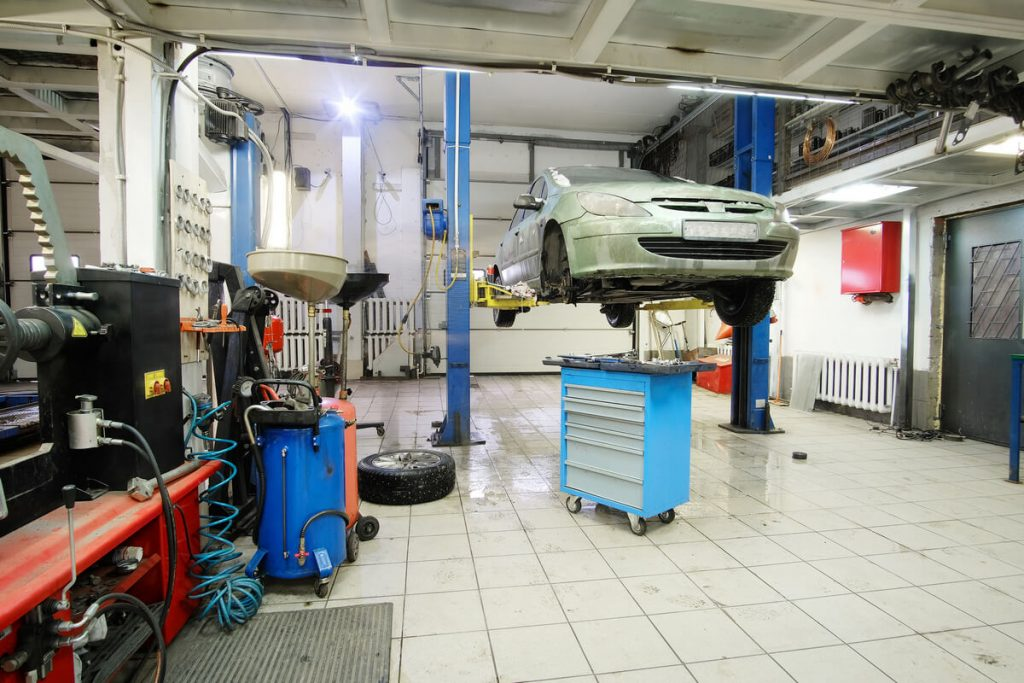 Home garage with car lift