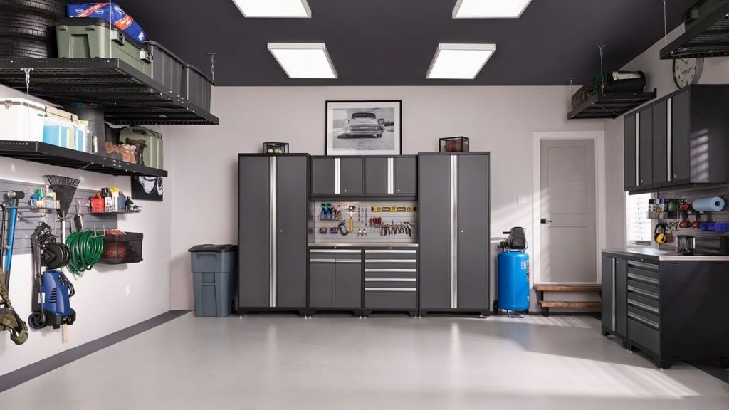 Garage cabinetry to optimize garage space