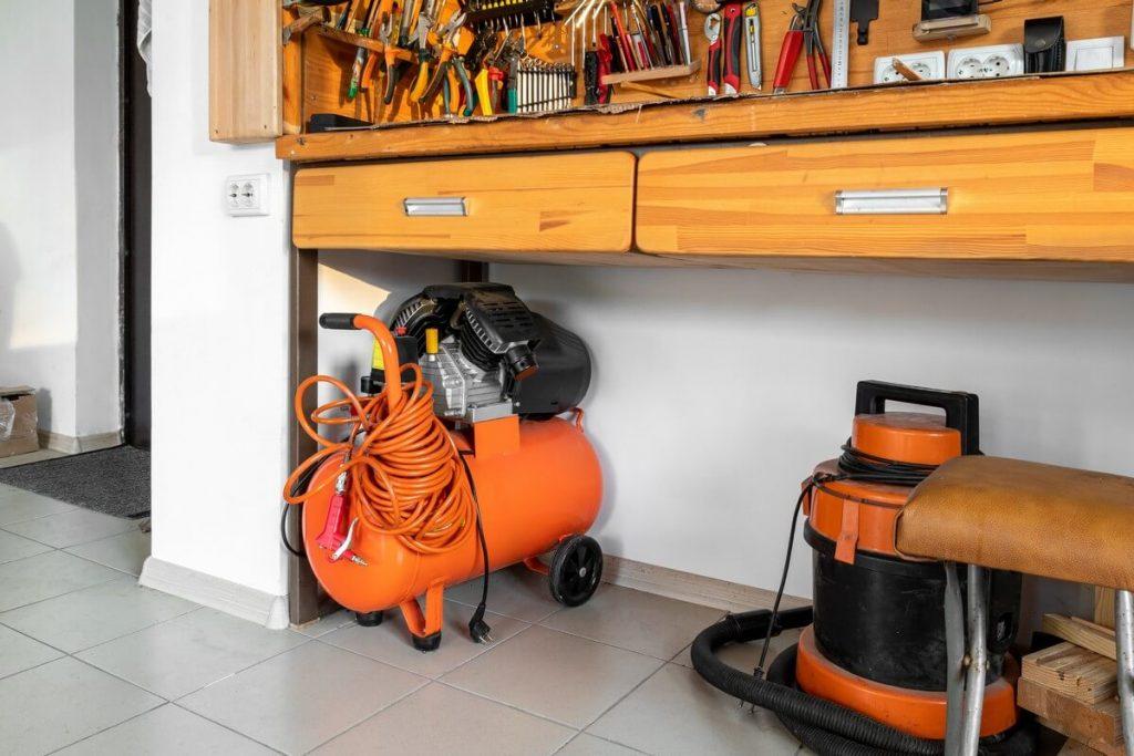 portable air compressor in garage