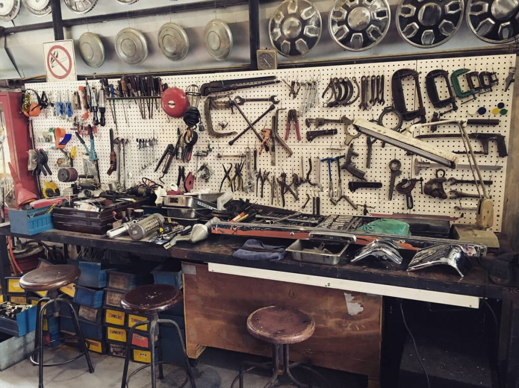 Pegboard loaded with tools