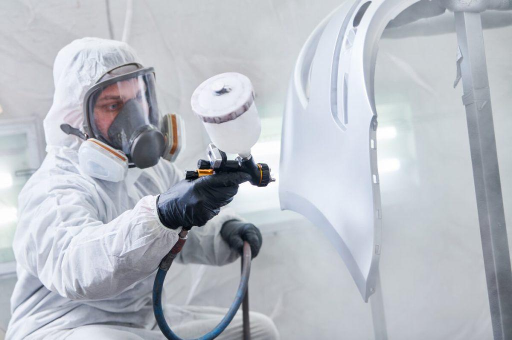 Spray painting car bumper